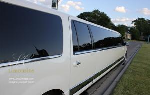 Lincoln Navigator long passenger side of 14 passenger limousine