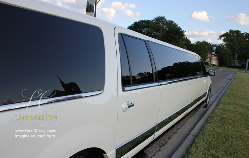 Lincoln Navigator long passenger side of 14 passenger limousine
