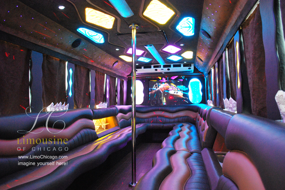 limo party bus inside: pole, led lights, bar, leather seats
