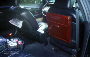 Town Car back seat with table interior