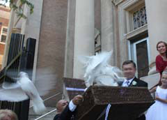 white doves at a wedding