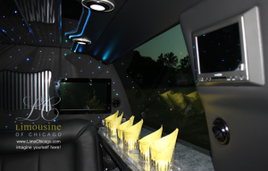 limo Navigator interior televisions, bar for 14 passengers