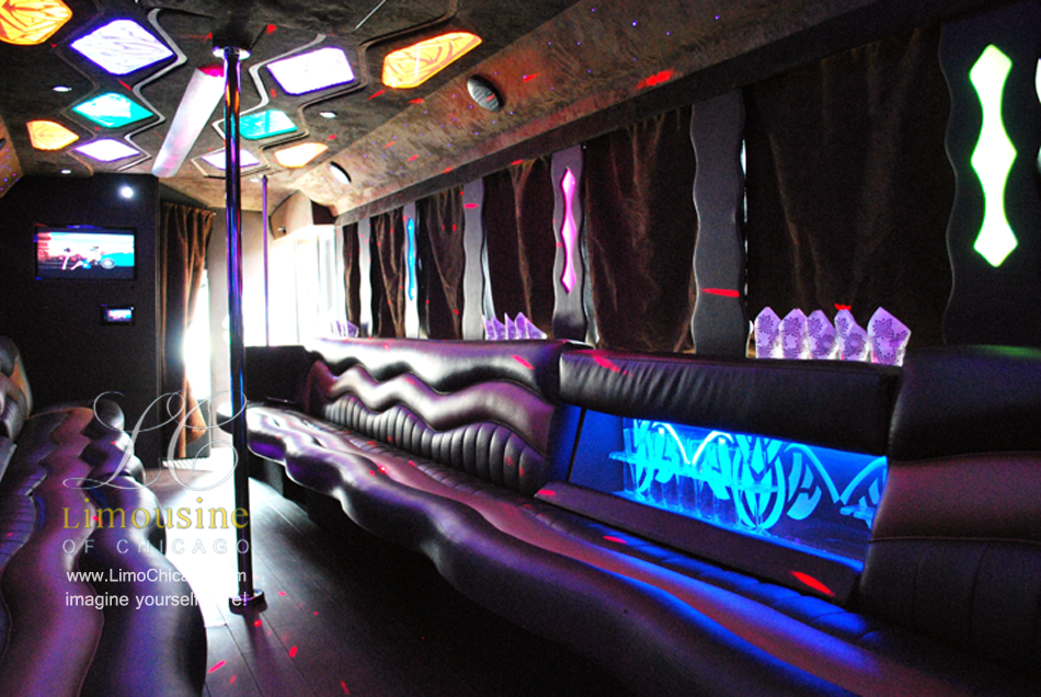 party bus inside LED lighting, leather seating, bars for birthday celebration, privacy curtains, privacy glass and a pole